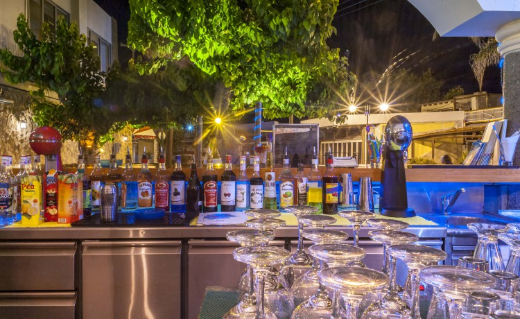 Haven's bar glasses and bottles